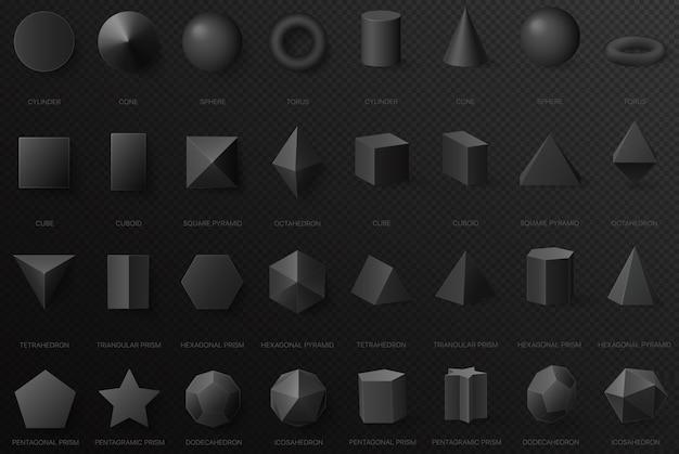 Realistische schwarze geometrische grundformen in der draufsicht und in der vorderansicht lokalisiert auf dem dunklen alpha-transperanten hintergrund