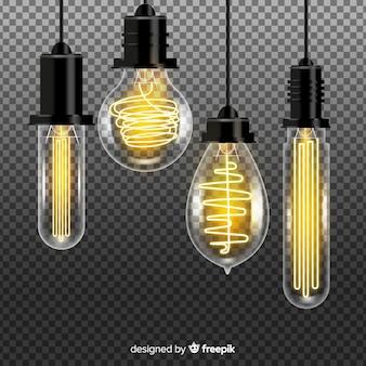 Realistische schwarze glühbirnen