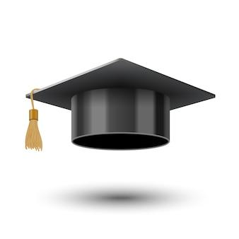 Realistische schwarze kappe für hochschulabsolventen oder hochschulen