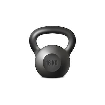 Realistische schwarze kettlebell-kraft-fitnessgeräte zum heben von übungen