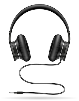 Realistische schwarze kopfhörer auf weiß