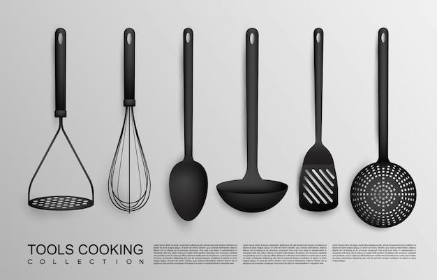 Realistische schwarze küchenwerkzeug-sammlung