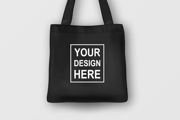 Realistische schwarze leere textil-einkaufstasche.