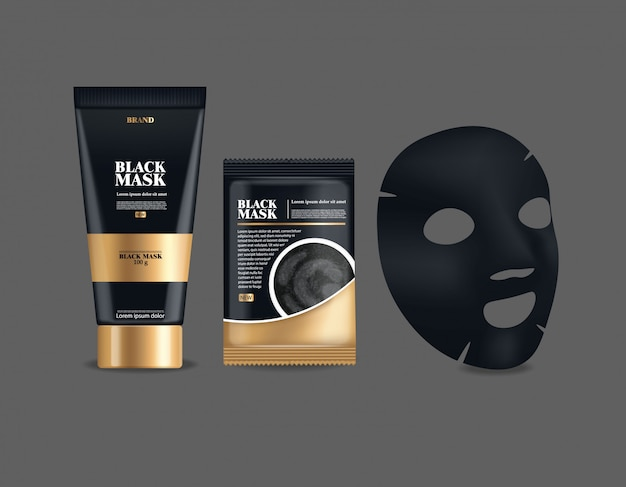 Realistische schwarze maske, großer satzbehälter, isoliertes schwarzes paket, holzkohle-gesichtsmaske, schönheitsproduktillustration