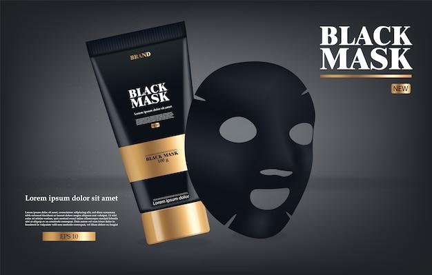 Realistische schwarze maske, schwarzes 3d-paket isoliert, markenkosmetik, holzkohle-gesichtsmasken-design, schönheitsproduktillustration