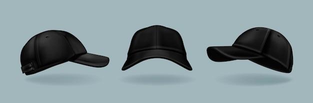 Realistische schwarze mützenkollektion