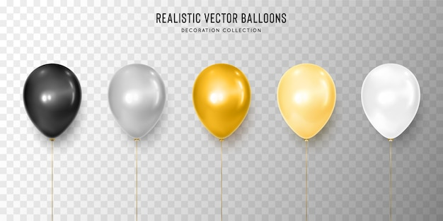Realistische schwarze, silberne, goldene, gelbe und weiße ballonillustration