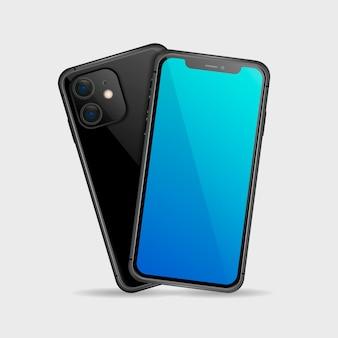 Realistische schwarze smartphone-vorder- und rückseite