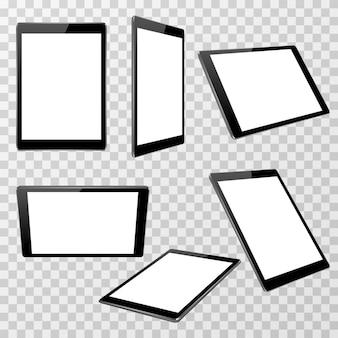 Realistische schwarze tablettenvektorschablone lokalisiert auf transparentem kariertem hintergrund in unterschiedlichem poi