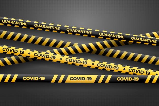Realistische schwarze und gelbe quarantänestreifen