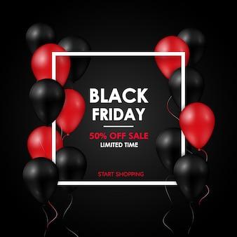 Realistische schwarze und rote ballone auf schwarzem hintergrund.