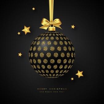 Realistische schwarze weihnachtskugel.