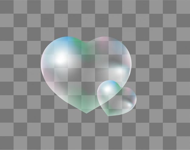 Realistische seifenblasen herzförmig realistisch, stil. auf einem transparenten hintergrund. wassertropfen in herzform. valentinstag, liebe, romantik-konzept. illustration.