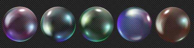 Realistische seifenblasen in vektor mit glanz und regenbogen auf transparentem hintergrund isoliert
