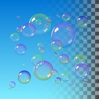 Realistische seifenblasen mit regenbogenfarben