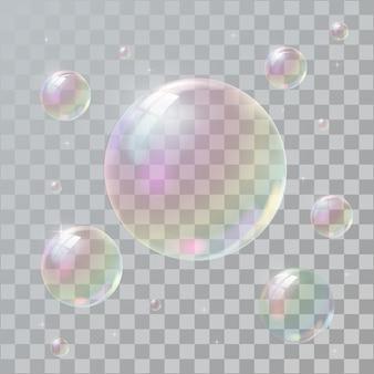 Realistische seifenblasen mit regenbogenreflexion.