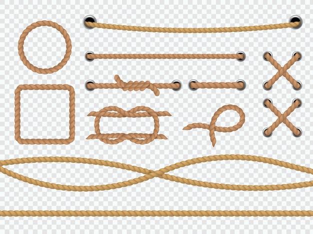 Realistische seile. marine runde und quadratische schnurränder, braune jute- oder hanfschnur mit krawatte, schleife und knoten, gebogenes gerades lasso, das dekorative vektor-3d-rahmen einzeln auf transparentem hintergrund segelt