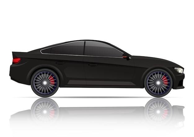 Realistische seitenansicht des schwarzen coupéautos.