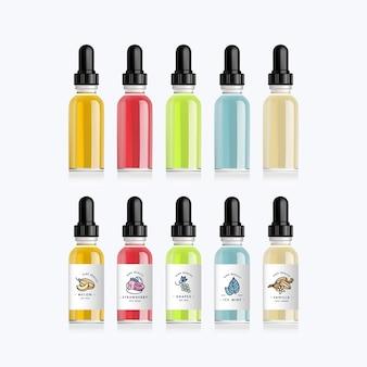 Realistische setflaschen verspotten den geschmack einer elektronischen zigarette mit verschiedenen fruchtaromen. tropfflasche mit weißen designetiketten. illustration.