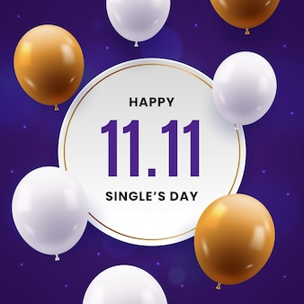 Realistische singles day holiday illustration