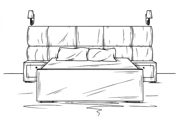 Realistische skizze des schlafzimmers.