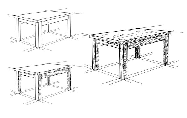 Realistische skizze verschiedener tabellen in der perspektive. tischset. illustration