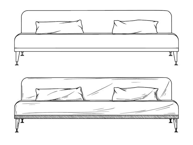 Realistische skizze von sofas auf weißem hintergrund. illustration