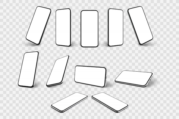 Realistische smartphone-set-sammlung