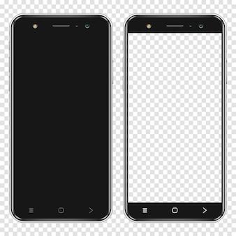 Realistische smartphones mit leerem bildschirm und transparentem bildschirm isoliert auf transparentem hintergrund