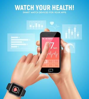 Realistische smartwatch-gesundheitszusammensetzung mit beobachten sie ihre gesundheitsüberschrift und mans handvektorillustration