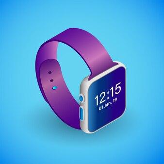 Realistische smartwatch in isometrie isometrische vektorgrafik von smartwatches für elektronische geräte device