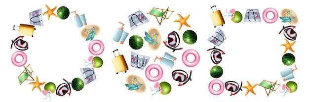 Realistische sommersymbole eingestellt. sammlung von im realismus-stil gezeichneten reisekoffern seestern tauchmasken wassermelonencocktail auf runden quadratischen formen auf weißem hintergrund. erholung im sommer.