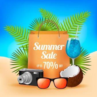 Realistische sommerverkaufskarte mit feiertagselementen