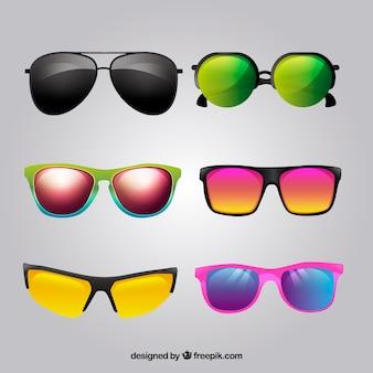 Realistische sonnenbrillen-kollektion