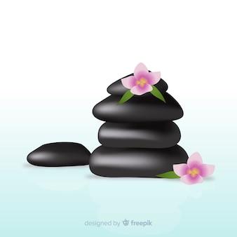 Realistische spa steine mit blumen