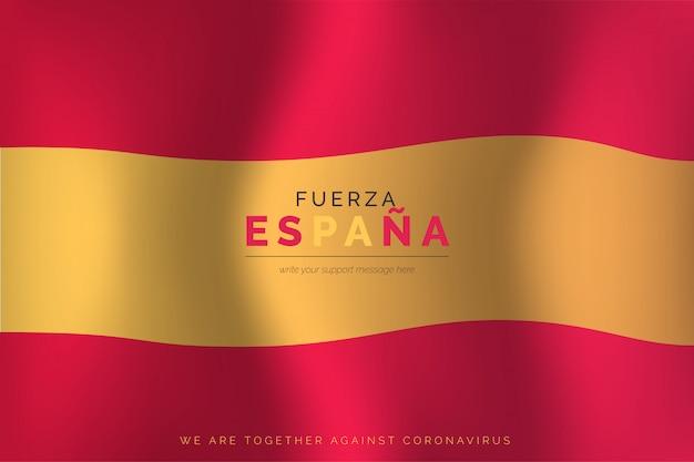 Realistische spanische flagge mit unterstützungsnachricht