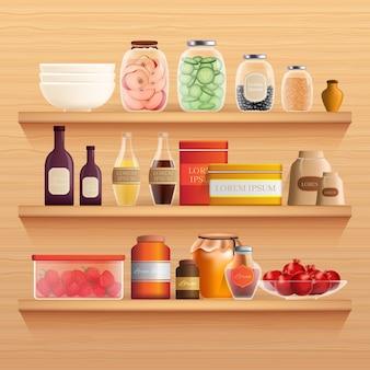 Realistische speisekammer-nahrungsmittelsammlung