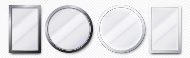 Realistische spiegel. runder und rechteckiger metallspiegelrahmen, schablonensatz für weiße spiegel