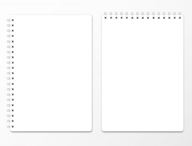 Realistische spiralblock. klare notebook-titelseite mit schatten.