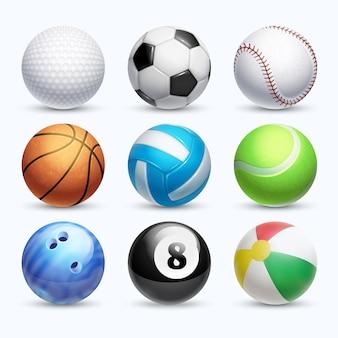 Realistische sportbälle vektor festgelegt. farbenkugel und -basketball für spielillustration