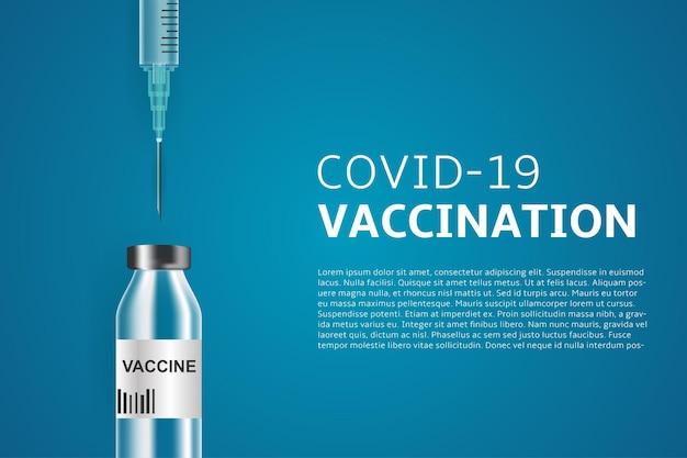 Realistische spritze mit einem coronavirus-impfstoff