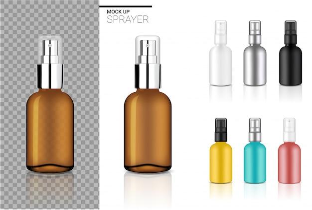 Realistische sprühflasche kosmetik set vorlage