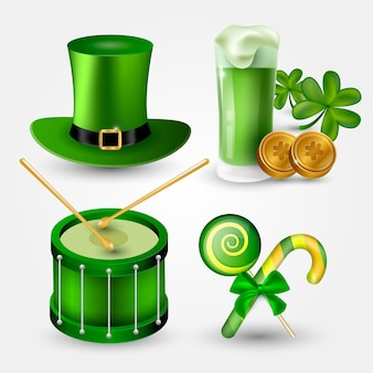 Realistische st. patrick's day elements sammlung