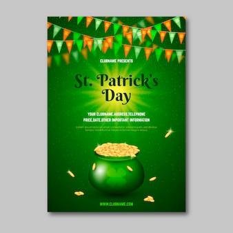 Realistische st. patrick's day flyer vorlage
