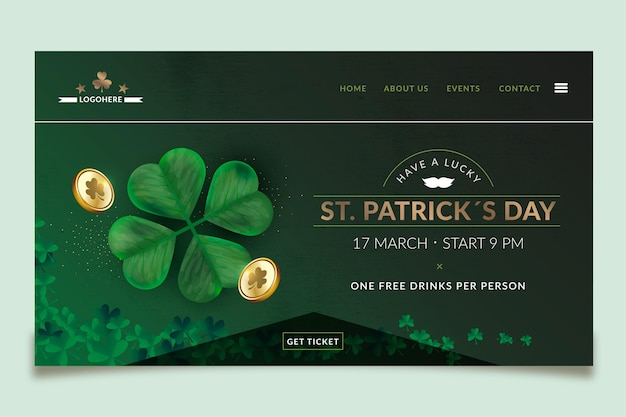 Realistische st. patrick's day landing page