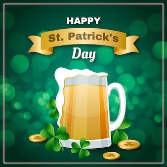 Realistische st. patrick's day mit bier und münzen