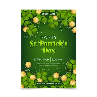 Realistische st. patrick's day poster vorlage