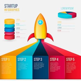 Realistische startup-infografik