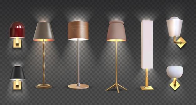 Realistische stehlampe. 3d-nahaufnahme rendern von modernen elektrischen torchere mit licht auf transparentem hintergrund isoliert. vektorillustrationslichtmöbelsatz für beleuchtungsinnenraum