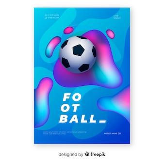 Realistische steigungsfußball-plakatschablone